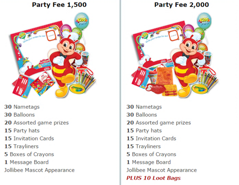 2018 jollibee party packages jollibee party fee package stopboris Gallery