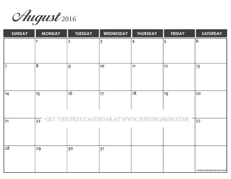 free August 2016 calendar template