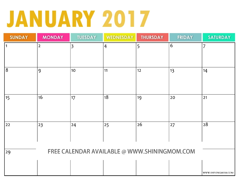 Free Printable  Calendar By Shining Mom