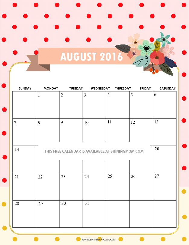 Cute Calendar Templates 2016 : Pretty printable calendars for august
