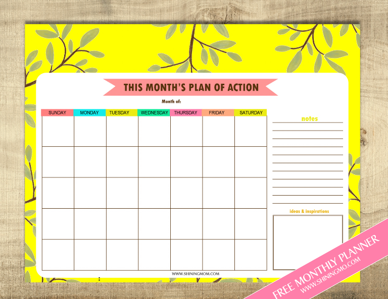 july planner via shining mom