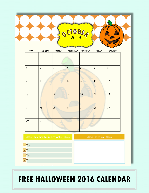 FREE PRINTABLE HALLOWEEN OCTOBER 2016 CALENDAR