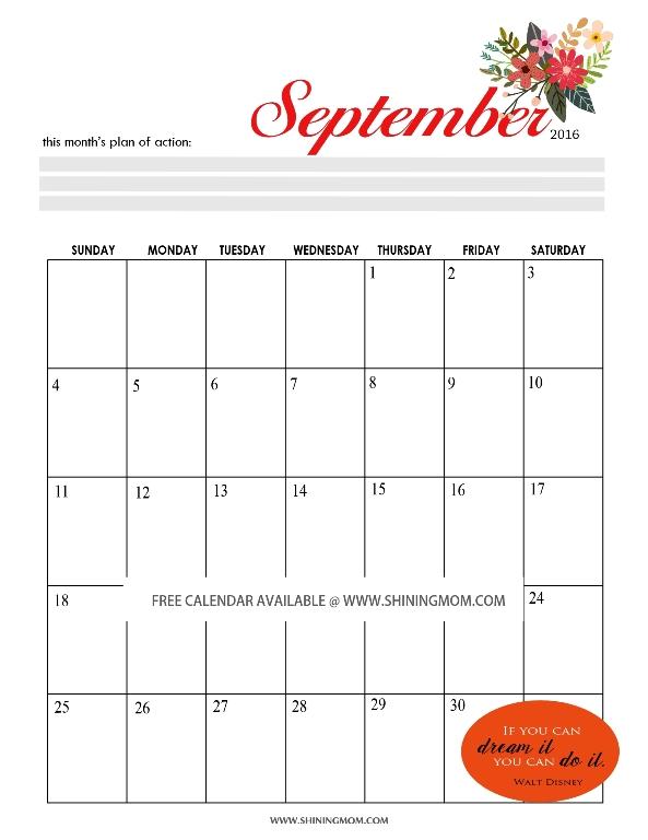 September Calendar 2016 : All lovely free september calendars