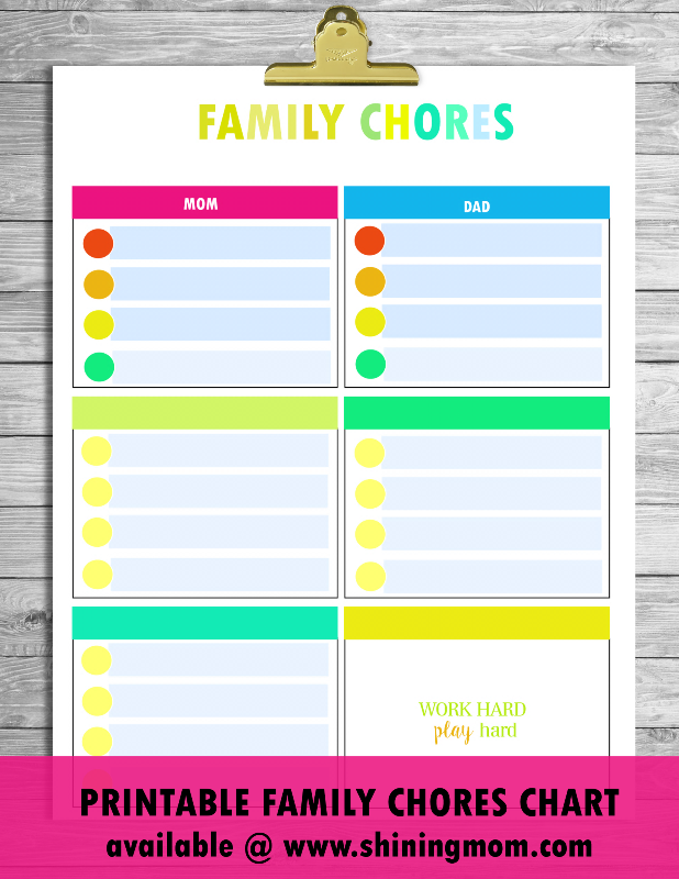 Free printable chore charts that work for Chore chart for adults templates