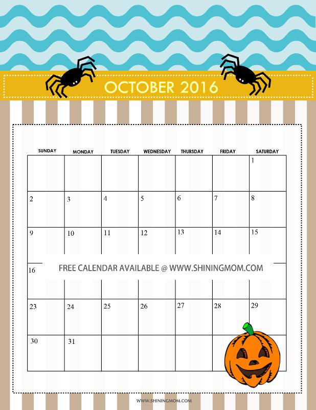 Free Calendars for October 2016 {Halloween Designs!} - October Halloween Calendar