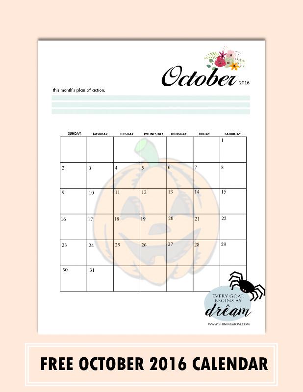 free October 2016 calendar pretty