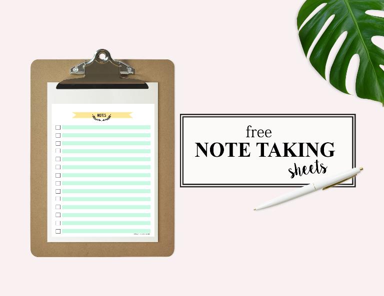 free notes sheet