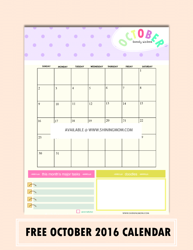 free october 2016 calendar with notes