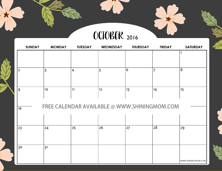 free printable October 2016 calendar cute