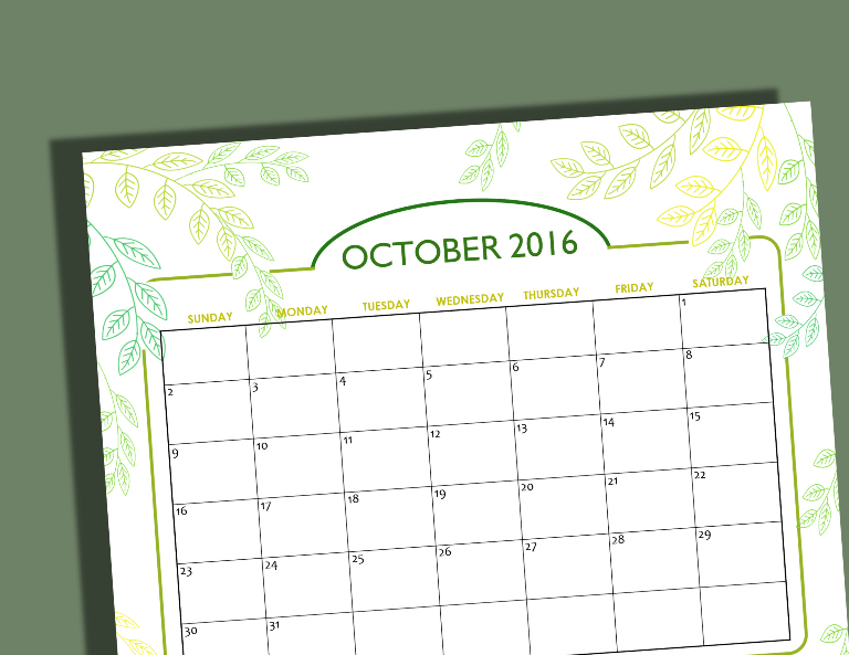 free printable October 2016 calendar via Shining Mom blog v2
