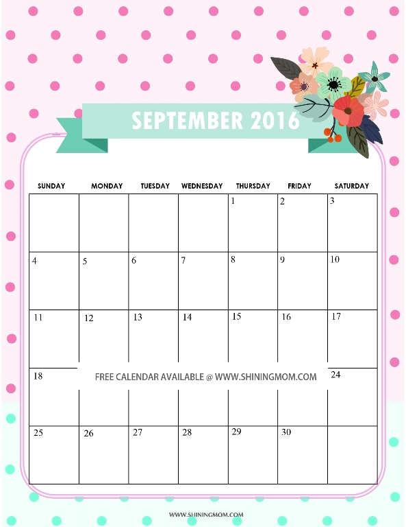 Cute Free Printable September 2016 Calendar
