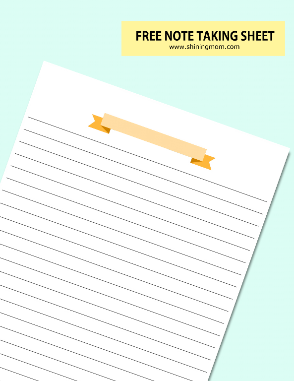 free printable note taking page