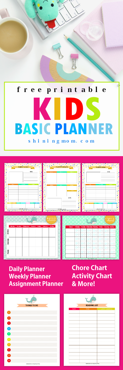 Free printable kids planner cute and colorful for To do planner online