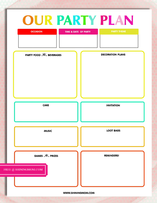 picture relating to Party Plan Template called No cost Printable Celebration Designing Template