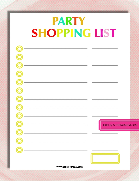 Free Printable Party Planning Template