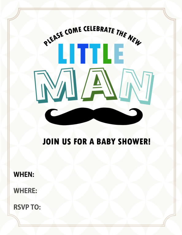 All cute free baby shower invitations to print free little man themed party baby shower invite pronofoot35fo Image collections