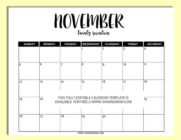 Free printable fully editable 2017 calendar templates in for Conflict calendar template