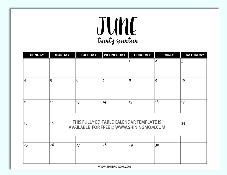 Eitable June 2017 Calendar In Word