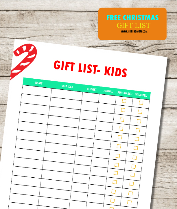 graphic regarding Printable Christmas Shopping List titled Seek the services of this Absolutely free Printable Xmas Present Record!