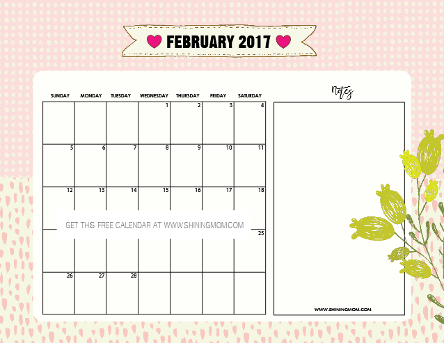 free-printable-february-2017-calendar-with-notes
