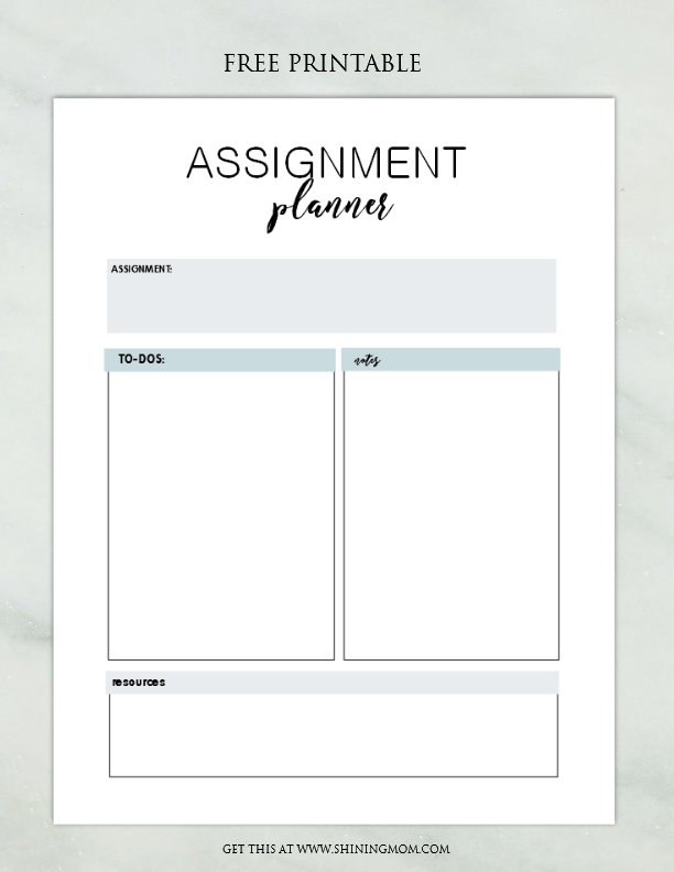FREE Assignment Planner for Kids and Teens: Fun and Cute!
