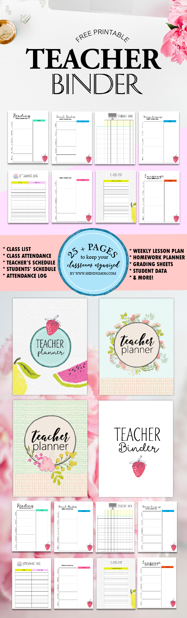 photograph about Free Printable Teacher Planner identify Absolutely free Trainer Binder Printables: Previously mentioned 25 Beautiful Building