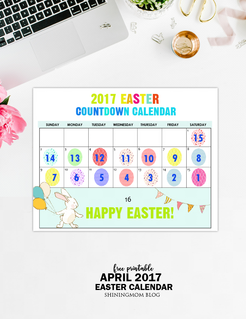 image relating to Countdown Calendar Printable called Free of charge Printable: Enjoyable Easter Countdown Calendar 2017