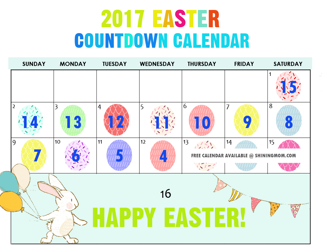 picture relating to Countdown Printable titled Totally free Printable: Enjoyment Easter Countdown Calendar 2017