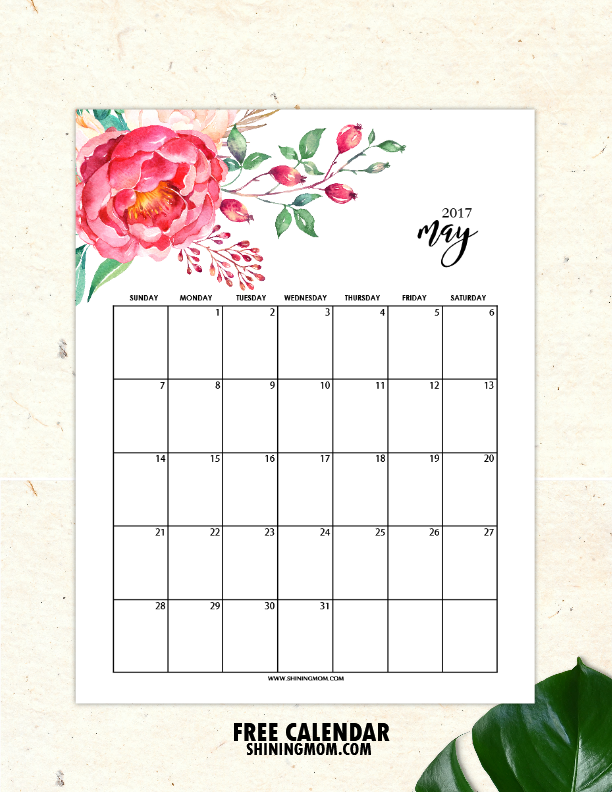 Free Printable May 2017 Calendars 12 Awesome Designs