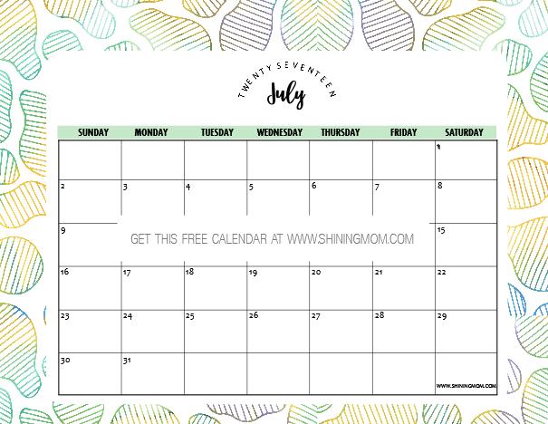 Free Printable July 2017 Calendar: 12 Pretty Designs