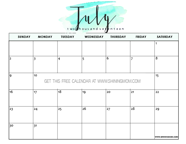 image relating to Printable July Calendar identify Free of charge Printable July 2017 Calendar: 12 Really Patterns
