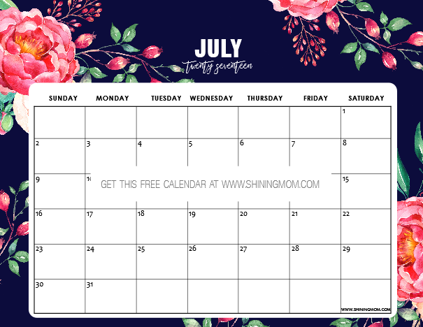 Calendar Design December : Free printable july calendar pretty designs