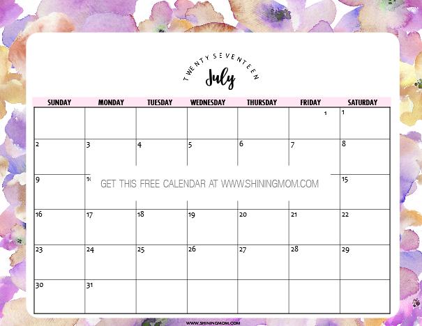 July Calendar Design : Free printable july calendar pretty designs
