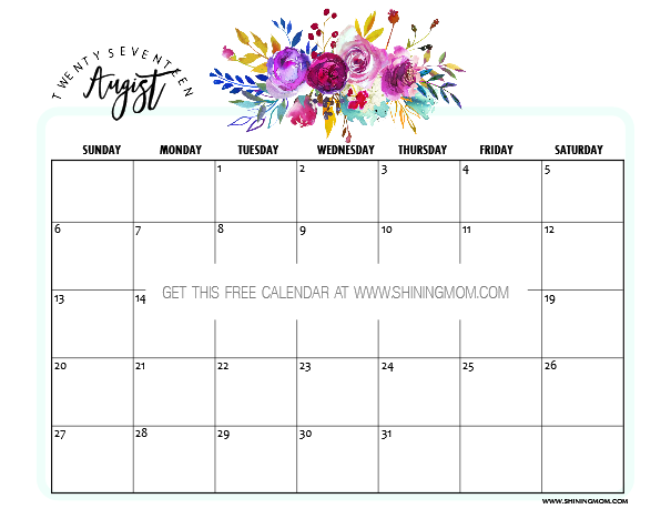 photo relating to Printable Aug Calendar titled No cost Printable August 2017 Calendars: 12 Incredible Options!