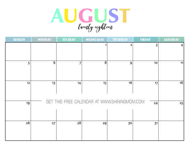 picture relating to Pretty Printable Calendar called Absolutely free Printable 2018 Calendar: Really and Colourful!