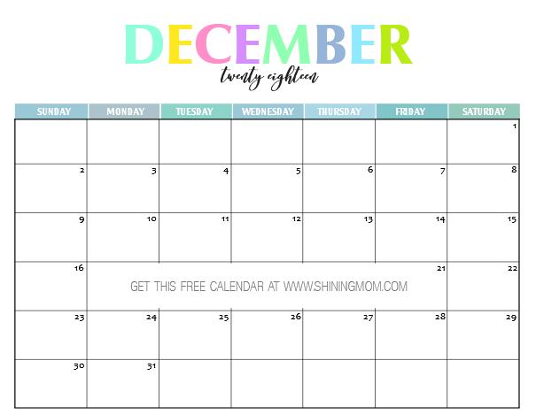 November December 2019 Fancy Calendar Free Printable Free Printable 2018 Calendar: Pretty and Colorful!