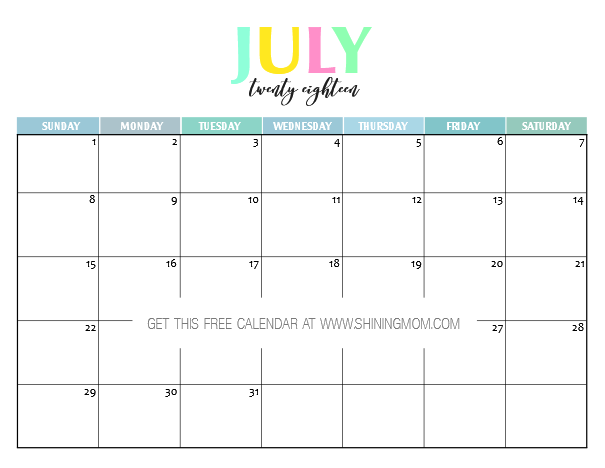 photo about Imom Calendars titled Absolutely free Printable 2018 Calendar: Really and Colourful!