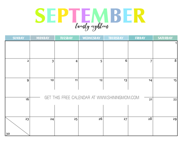 photo about Free Printable Oct Calendar named Free of charge Printable 2018 Calendar: Lovely and Vibrant!