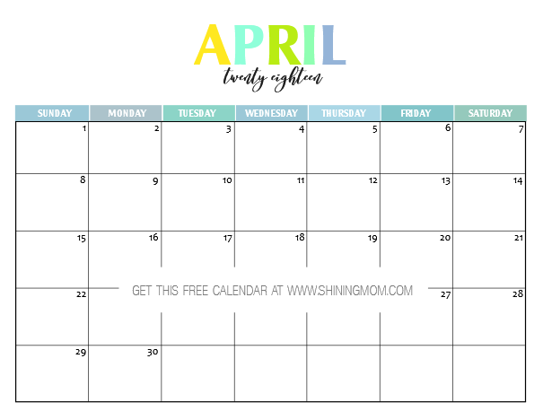 April Calendar Picture Ideas : Free printable calendar pretty and colorful