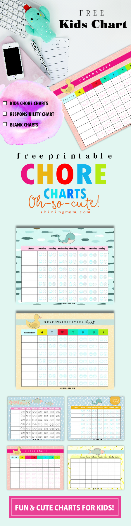 Cute free printable chore charts for kids!