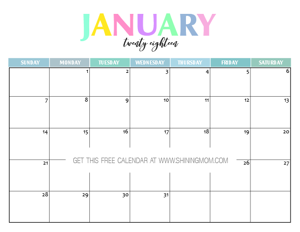 january 2018 calendar print out