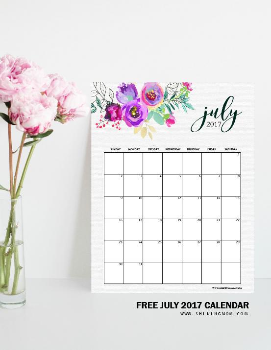 pretty July 2017 calendar