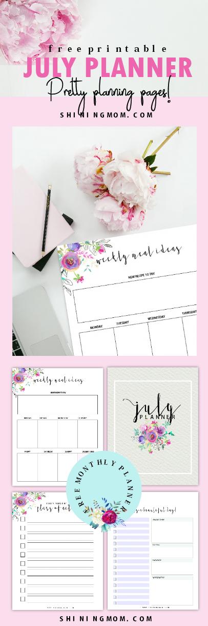 Free July planner printable