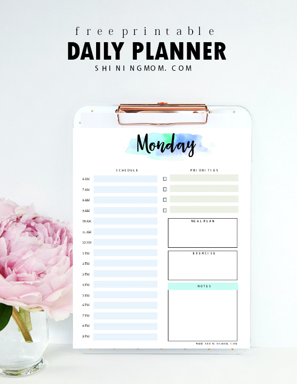 Daily Calendar Design : Free daily planner printable pretty sheets