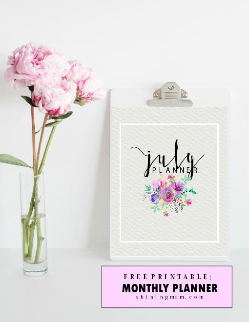 free printable July planner