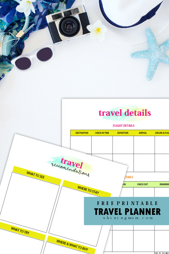travel planner printable