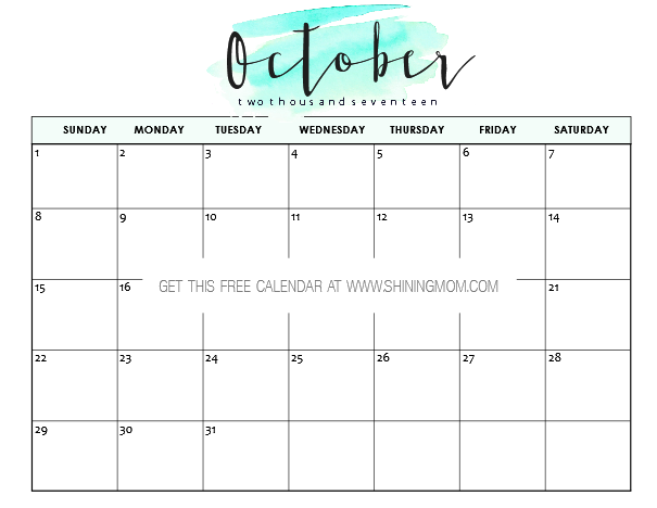 Minimalist Calendar Template : Free printable october calendar awesome designs