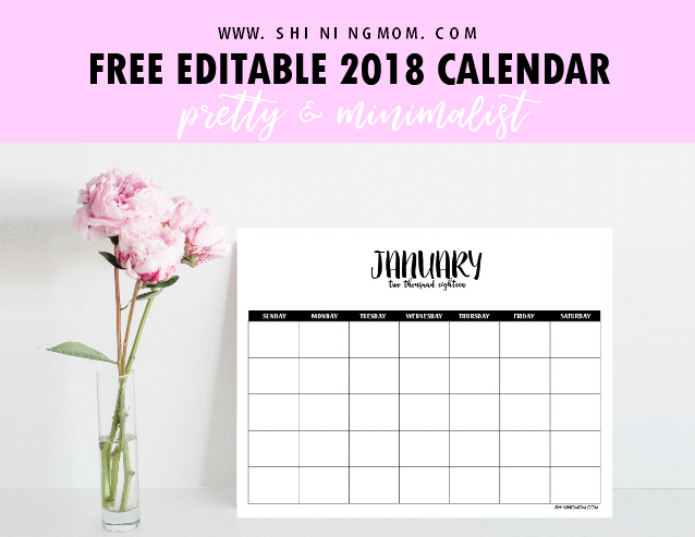 free fully editable 2018 calendar template in word