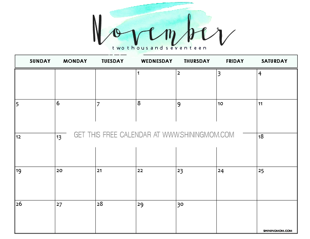 are you looking for a minimalist calendar design this oh so simple style might work for you with just a splatter of color this november calendar is great