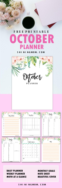 October planner printables